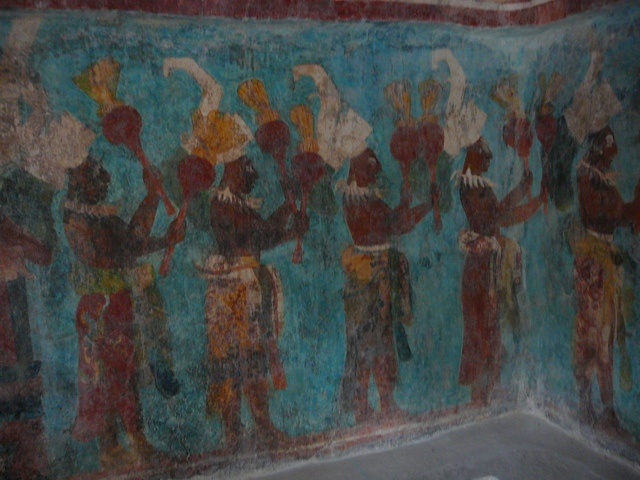 Maya murals at bonampak illustration concentration for Bonampak mural painting