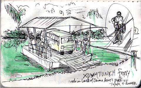 Hand-cranked ferry in Belize, ink and watercolor in Moleskine.