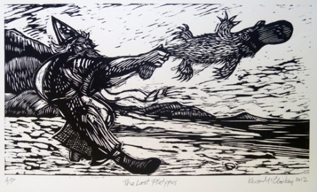 The Last Platypus in Ireland, woodcut © KMc 2012