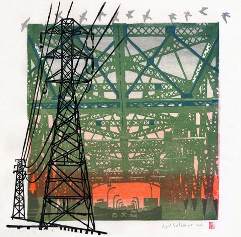 """Moku Hanga print """"Migration"""" ©2008 April Vollmer, from www.aprilvollmer.com"""