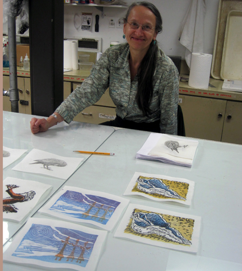 April Vollmer pleased with her student's prints at Printmaking Center of NJ
