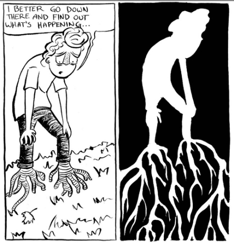 comic panels from Roots ©2012 Adrian Pijoan