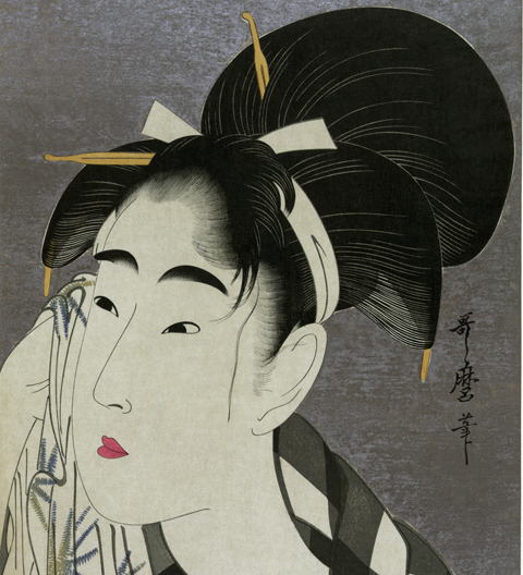 Ukiyo-e print by Utamaro, circa 1800, printed with mica  background. (Wikipedia)