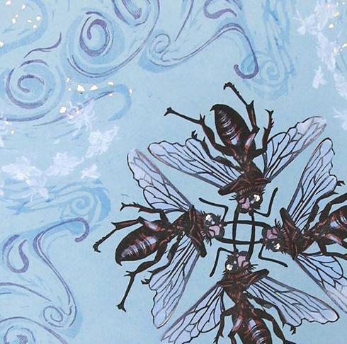 Blue Vortex, woodblock, (detail) © 2005 April Vollmer