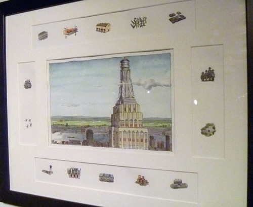 The artist custom matted his illustrations to include the supporting details.