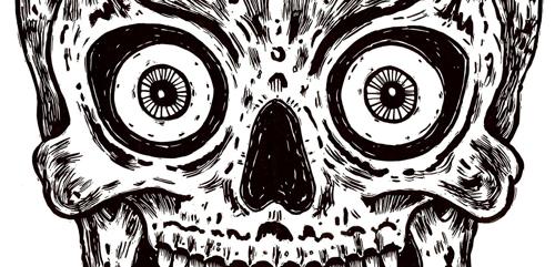 Hypnotic Skull (detail) linoleum cut © Bill Fick