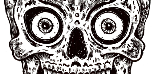 Hypnotic Skull (detail) linoleum cut © Bill Fick