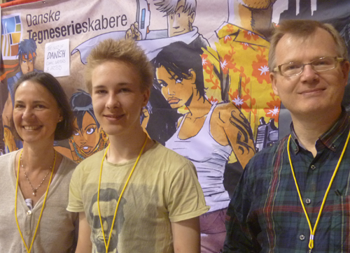 Sussi Bech,Thomas, Frank Madsen of the Danish Cartoonists Guild.