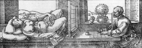 Dürer's woodcut of a draftsman using a drawing aid.