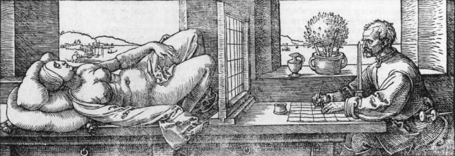 Dürer's woodcut of a draftsman using a drawing aid.
