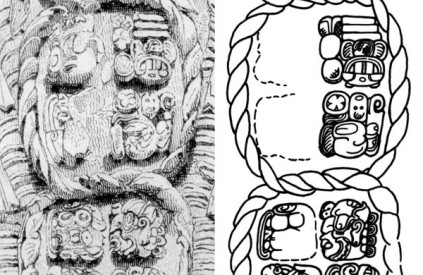 "Copan Stela detail by Catherwood and sketch from the ""Maya Decipherment"" blog."