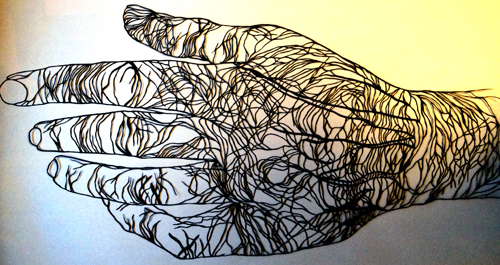 Hand, cut paper, © Maude White 2013