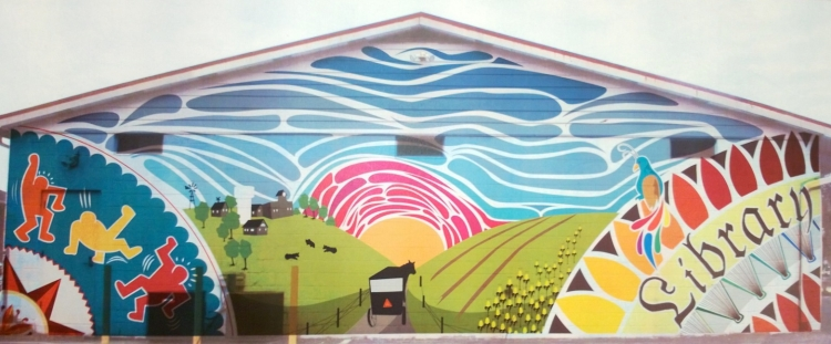 Mural design superimposed on a photo of the Kutztown Community Library.