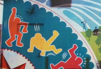 Mural detail showing homage to Keith Haring.