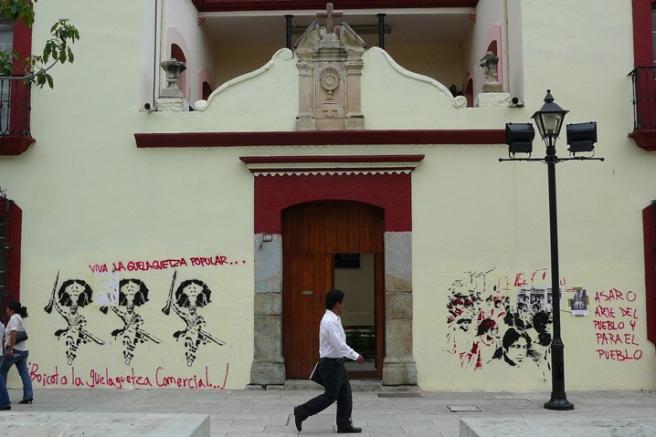 Stencil graffiti, ASARO, 2007. Oaxaca cathedral