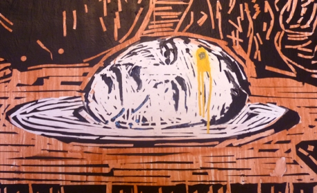 The Head of Benito Juarez, detail from the Last Supper, stencil and paint.