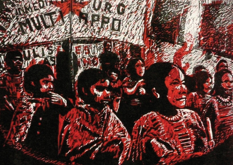 Marcha, 2007, detail, woodblock print, ASARO, attributed to Yescka