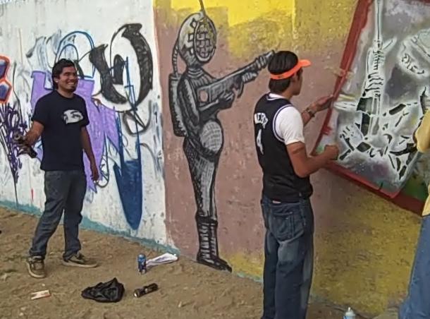 Yescka with ASARO stencil crew in Azompa