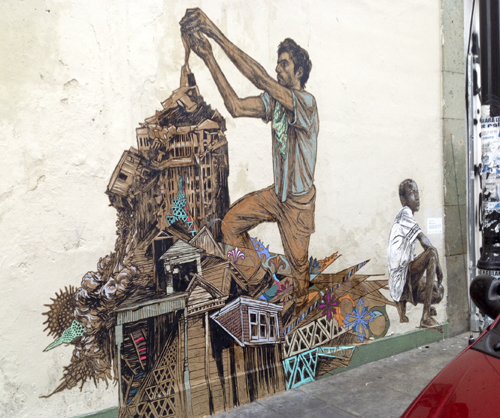 Oaxaca Street Art by Swoon, complete with a museum label on right edge.