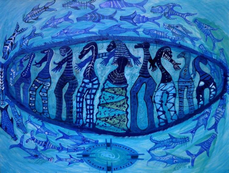 Dance of the fish of Yemaya, mixed media canvas,© Baltazar Castellano 2013