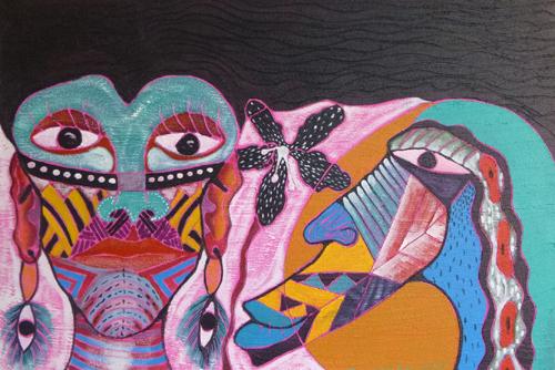"""'Orquida en le cortejo"""" mixed media  ©2014 Baltazar C. Melo"""