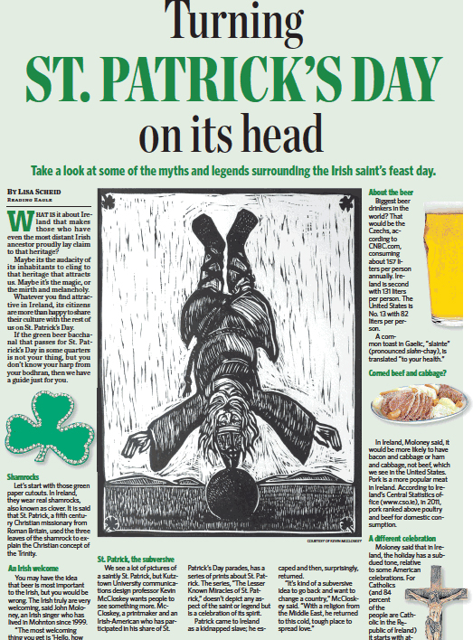 Original woodblock, St. Patrick's Headstand, 12 by 16 in, used as illustration for Reading Eagle 3/17/14.