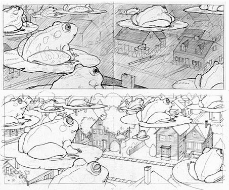 Stage 2 and 3: dummy, then finished drawing © David Wiesner