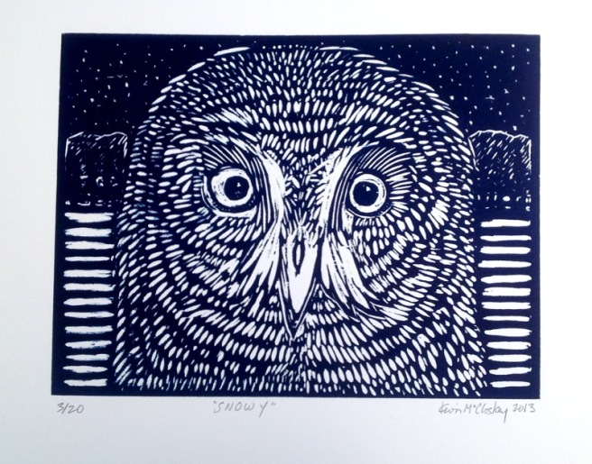 Snowy, woodblock print, 12 by 16 in, 2013.