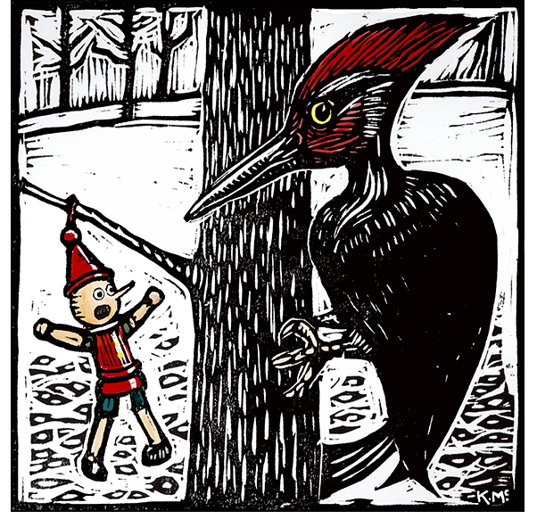 Pinocchio Panics, woodblock print, hand colored 11 in sq. 2103