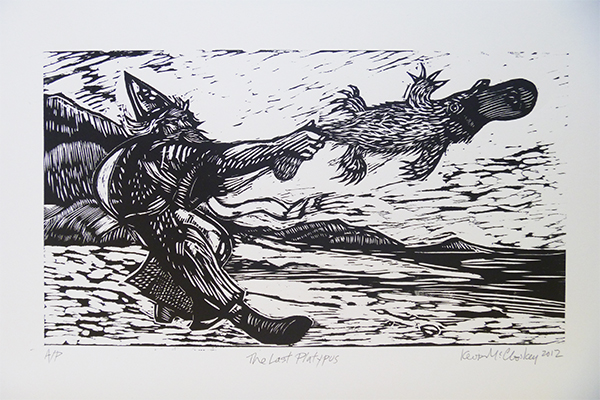 The Last Platypus in Ireland, 14 by 22 in, woodblock, 2011, KMc