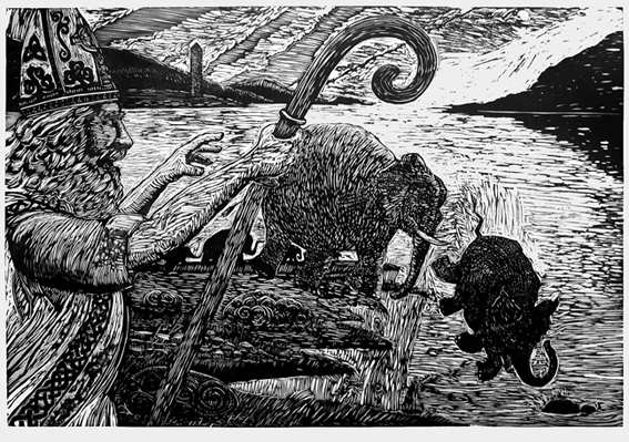 St. Patrick Driving the Elephants from Ireland. Woodblock Print 36in by 24in, K.McCloskey 2010