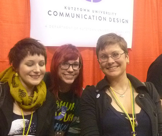 3 talented KU illustratos at MOCCA '13. Hannah Stephey, Lauren Gillespie, and Mellen.