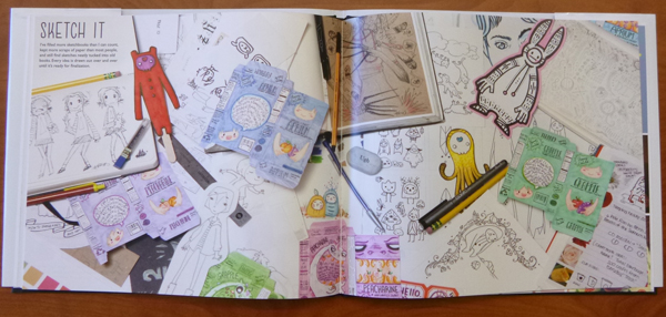 Sketchbook spread from Mellen's self-promo book.