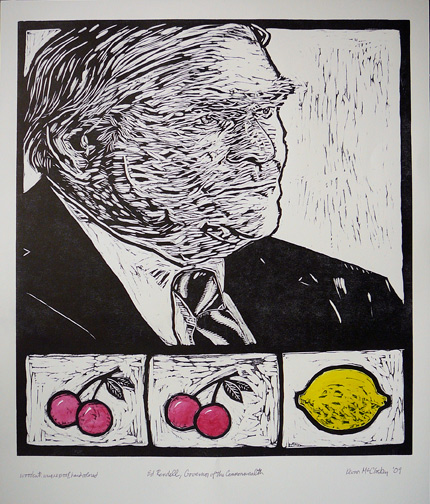 Gov. Ed Rendell, Woodblock print, 18 by 24 in 2010