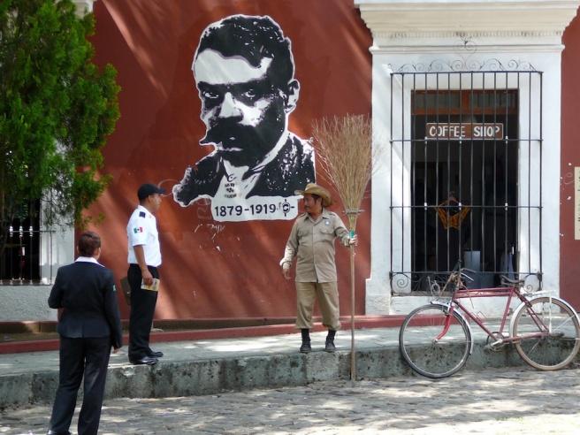 Oaxaca Street scene, art by Arte Jaguar. photo ©K.McCloskey