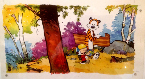 Yukon-Ho cover, ©1989 Bill Waterson, watercolor with ink overlay,