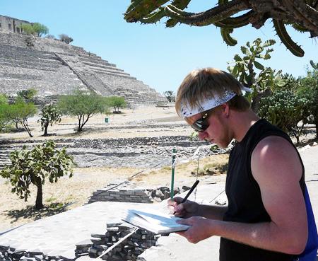 Corey Reifinger sketching a pyramid in Queretaro,  Mexico