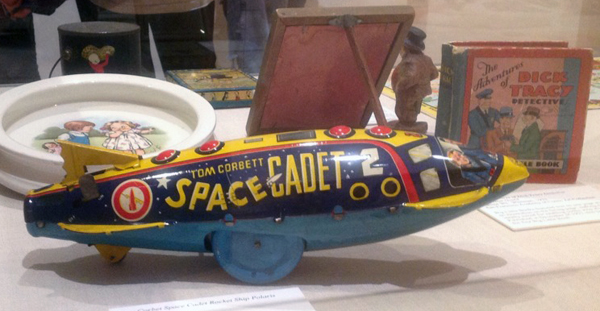 Tom Corbett Space Cadet rocket on display.