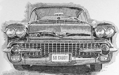 58 Caddy, pen and ink © Murray Tinkelman