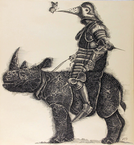 Knight on Rhinoceros, pen and ink, 1971, © Murray Tinkelman.