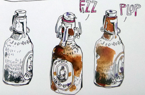 Beer bottles show how a dash of color adds life to a sketch. © F.S.