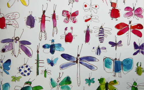Fanciful pageful of bugs displays the brilliance of clean color © F.S.