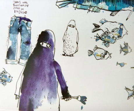 Detail from a two-page spread about blue. All art © Felix Scheinberger