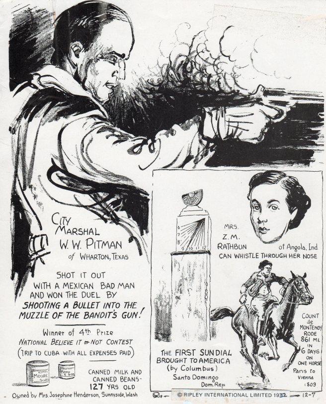 A classic Ripley cartoon, drawn charcoal, 1932.