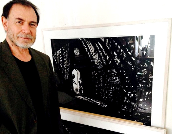 Lorenzo Mattotti with his original art for Hansel and Gretel