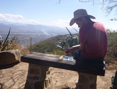 KU student Blake Myers sketching in the mountains of Mexico.