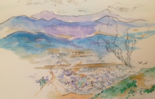 Blake Myer's sketch of Oaxaca Valley as seen from Monte Alban