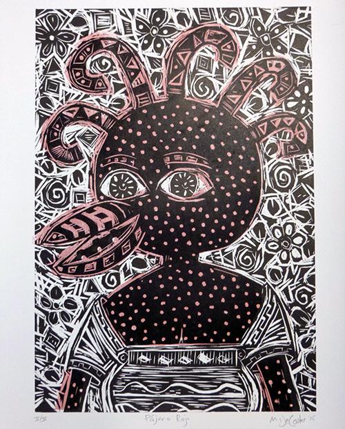 Pajaro Rojo, print, by KU Prof. Miles DeCoster