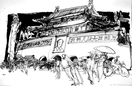 Gate of Heavenly Peace, Beijing, ink on paper, ©  Veronica Lawlor, 2015