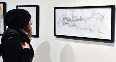 Viewing Lawlor's drawing of Stp Peter's Square Rome, at AFA Gallery, Scranton.